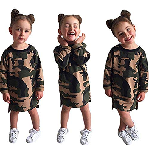 Tomblin Toddler Infant Girls Camo-Camouflage Long Sleeve Crewneck T Shirts Dress (120(for 2-3T baby), camo)