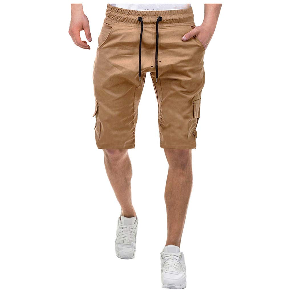 Xmiral Short Hosen Herren Einfarbige Verband Shorts mit Mehreren Taschen Cargohose Overall