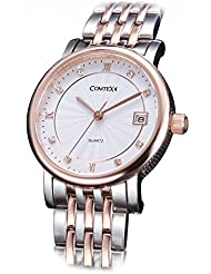 Comtex Womens Watches Rose Gold Tone Stainless Steel Diamond-Accented Fashion Lady
