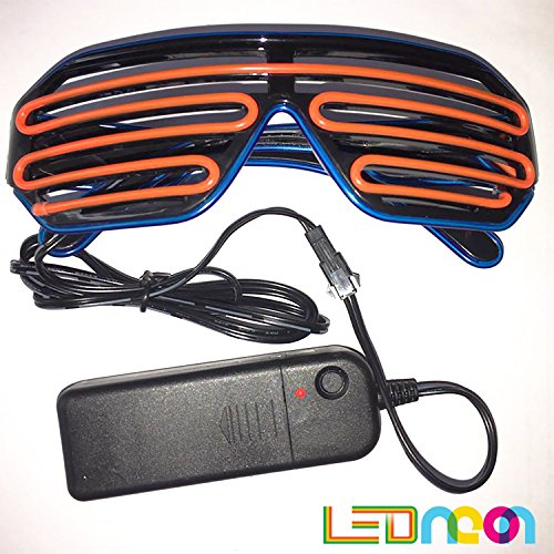 EL Wire Fashion Neon LED Glasses, Safety Light Up, Bright & Shutter Shaped Glow SunGlasses, Led Flashing Glasses, Costume Glasses For Party (Blue + - Sunglasses Glowing