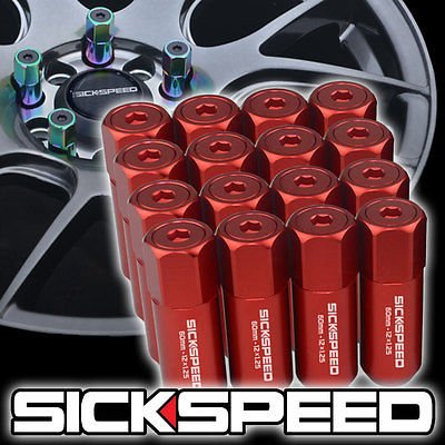 ALUMINUM 60MM EXTENDED TUNER LUG NUTS WHEELS/RIMS Red - 9