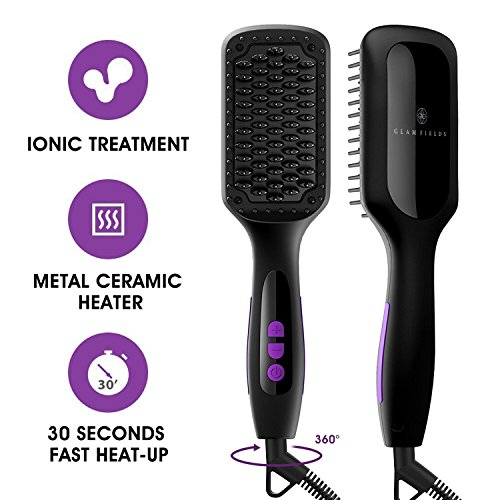 Ionic Hair Straightener Brush, GLAMFIELDS Electrical Heated Irons Hair Straightening with Faster Heating, MCH Ceramic Technology, Auto Temperature Lock, Anti Scald, Heat Resistant Glove by GLAMFIELDS (Image #7)
