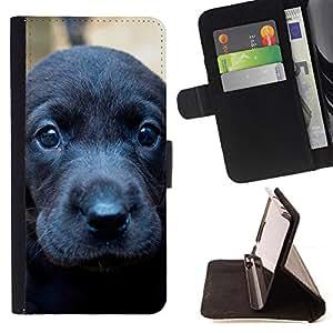 - Black Sad Cute Baby Puppy Dog - Estilo PU billetera de cuero del soporte del tir???¡¯????n [solapa de cierre] Cubierta- For Samsung Galaxy S5 Mini, SM-G800 £¨ Devil Case £©