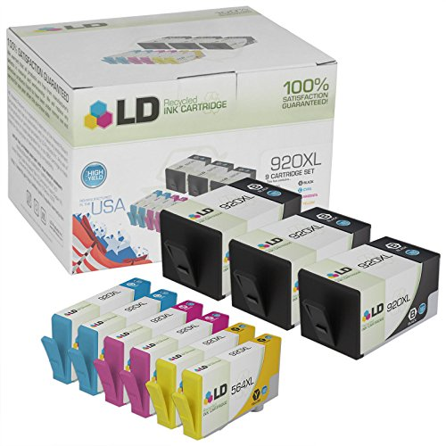 LD © Remanufactured Bulk Set of 9 Replacement Ink Cartridges for Hewlett Packard HP 920XL / 920 - Shows Accurate Ink Levels