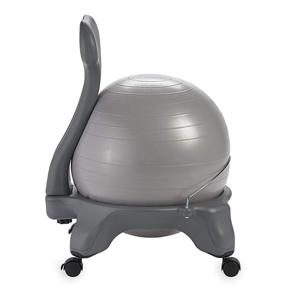 TangMengYun PVC Yoga Ball Chair Thickening Fitness Massage Chair Cushion Stool Fixed Seat Ball Chair Office Home (Color : Silver)