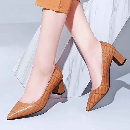 Les La Pointus Peu brown Profondes Femmes Mode DKFJKI Chaussures Les Et Sauvage Les Talons Basses des épais Chaussures XqRR6w4