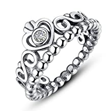 PAHALA 925 Sterling Silver Crown Cubic Zirconia Pave Wedding Engagement Band Ring