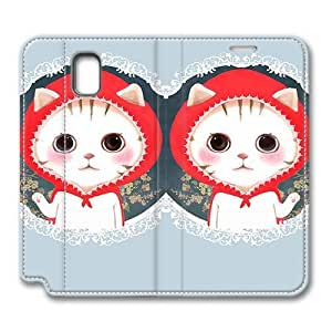 Brain114 Fashion Style Case Design Flip Folio PU Leather Cover Standup Cover Case with Cat Wearing A Red Hat Pattern Skin for Samsung Galaxy Note 3