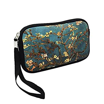 "Unisex Shockproof Neoprene Wristlet Wallet Clutch Purse, Coin Pouch, Pencil Bag, Cosmetic Bag Zipper Closure, 7"" x 4"" (Almond Blossoms Print)"
