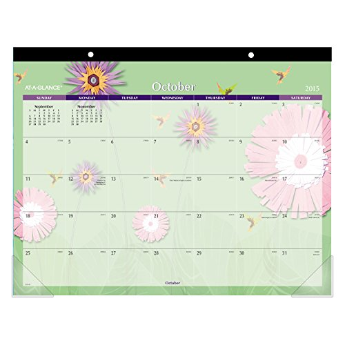 At A Glance Monthly Desk Pad Calendar Paper Flowers