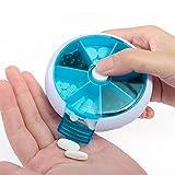 Gotian New 7-Day Round Medicine Pill Vitamin Box Case Storage Dispenser Organizer Holder - 9.5cm ABS+PP Blue