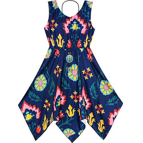 JP23 Girls Dress Flower Print Hanky Hem With