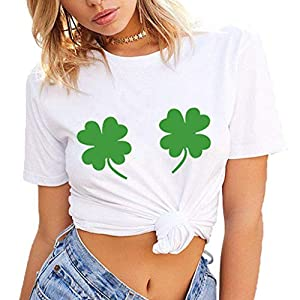 Cinnamou St.Patrick's Day Women Girls Plus Size Round Neck Short Sleeve Green Clover Printed Tees Shirt T-Shirt Blouse Tops