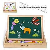 INTEY Magnetic Jigsaw Puzzles 111 Pieces Double-sided Magnetic Puzzle Animal Wooden Puzzles Board for Kids