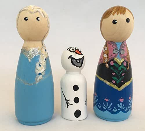 Princesas Frozen de madera pintadas a mano para jugar ...