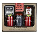 Thoughtfully Gifts, Bloody Mary Cocktail Gift Set, Includes Bloody Mary Mix, Celery Salt, Hot Sauce and 2 Mason Jar Glasses