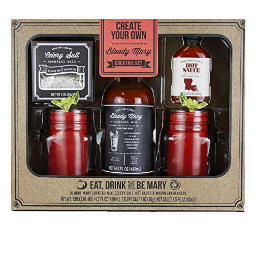 Thoughtfully Gifts, Bloody Mary Cocktail Gift Set, Includes Bloody Mary Mix, Celery Salt, Hot Sauce and 2 Mason Jar Glasses (Best Commercial Bloody Mary Mix)