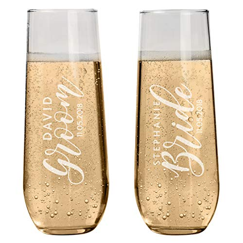 Set of 2 Personalized Stemless Champagne Flutes Wedding Glasses for Bride & Groom Champagne Glasses Wedding Gifts Mr & Mrs Champagne Flutes Wedding favor Toasting Glasses | Heart to Heart Glasses #S7