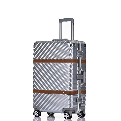 Checked Luggage, Aluminum Frame Hardside Fashion Suitcase with Detachable Spinner Wheels 28 Inch Silver by Clothink