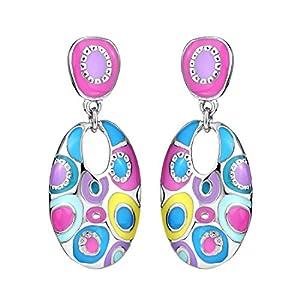 Neoglory Enamel Colorful Bohemian Chandelier Round Earrings