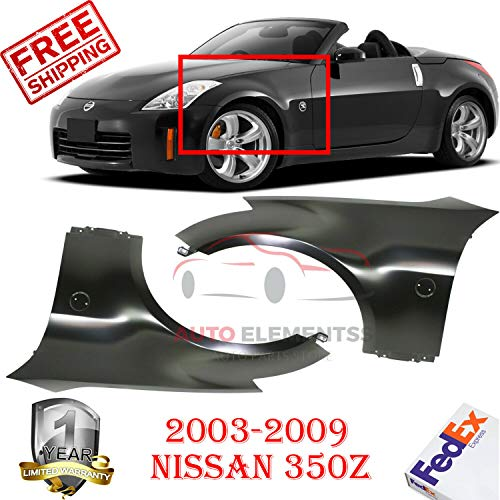 New Front Fenders for 2003-2009 Nissan 350z Base Coupe Left Hand Side & Right Hand Side Primed Steel with Emblem Provision & Without Molding Holes Oe Replacement Set of 2 Ni1240177, Ni1241177