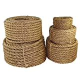Twisted Manila Rope Hemp Rope (1/4 in x 100 ft) - SGT KNOTS - Tan Brown Natural Rope - Thick Heavy Duty Rustic Outdoor Cordage for Craft, Dock, Decorative Landscaping, Climbing