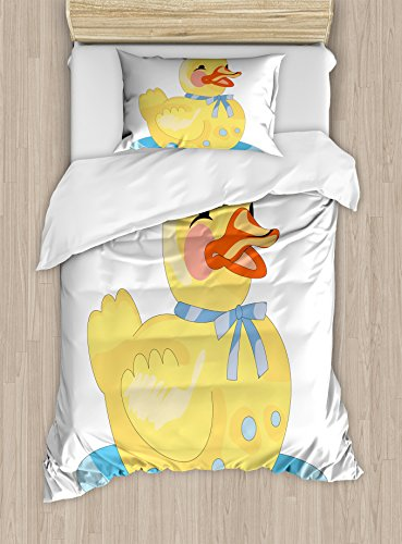 Lunarable Duckies Duvet Cover Set Twin Size, Image of a Happy Rubber Duck Sitting on a Puddle of Blue Bath Water, Decorative 2 Piece Bedding Set with 1 Pillow Sham, Yellow Orange Pale Blue (Puddle Pillow)