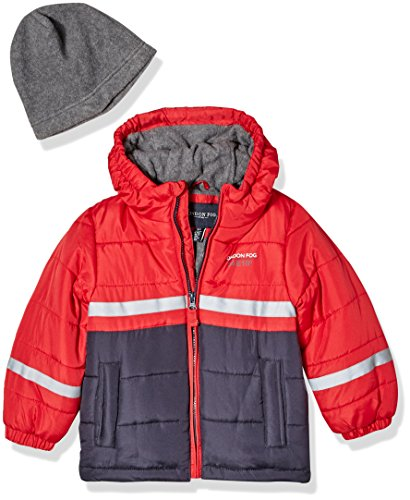 - London Fog Boys' Little' Color Blocked Puffer Jacket Coat with Hat, Real red, 7