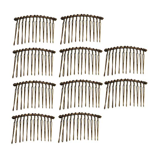 10x Metal Plain Hair Comb Pin Slide Side Comb Headpiece Wedding Bridal Veil (Color - ()