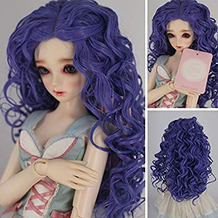f67379647ba10 1/3 with 9-10 Inch BJD Doll Wig High Temperature Synthetic Fiber Dark  Purple Ombre Kinky Curly Hair Wig BJD Doll Wigs for 1/3 1/4 1/6 BJD SD Doll  ...