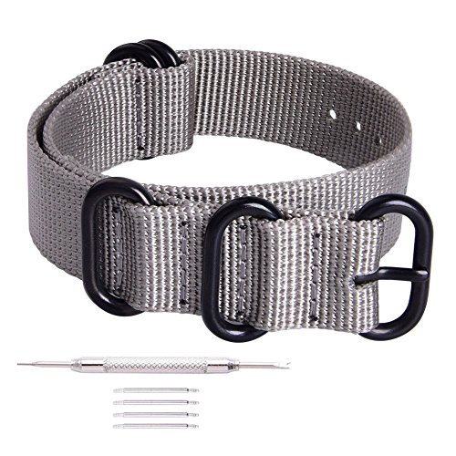 Ritche 20mm Smoke Grey NATO Strap with Black Heavy Buckle Compatible with Timex Weekender Watch Band