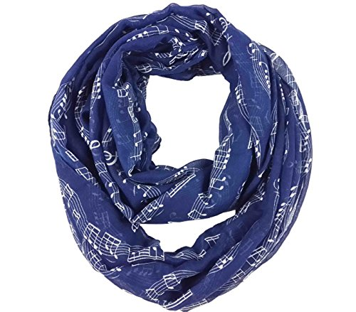 Lina & Lily Womens Musical Notes Print Infinity Loop Scarf