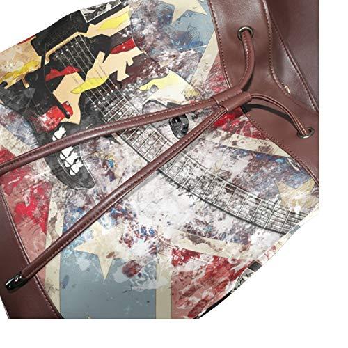Kvinnor PU-läder gitarrinstrument musik ryggsäck handväska resa skola axelväska ledig dagväska