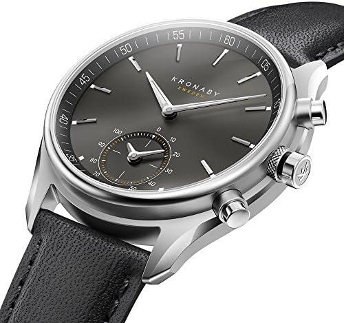Kronaby - Montre Hybride Kronaby SEKEL bracelet noir - cadran noir 43 mm
