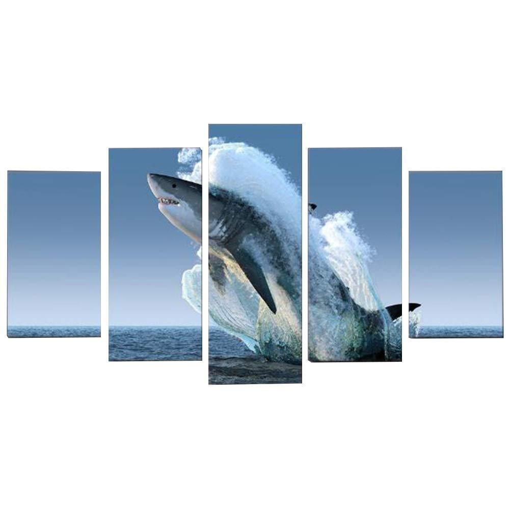 Wandbild Dekorative Ölgemälde Auf Leinwand Wohnzimmer Schlafzimmer Zuhause Holzrahmen Europäischer Stil Realistisch Haie Gehen Aufs Meer Hinaus