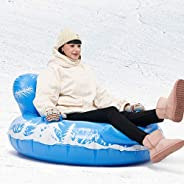 SOMIER 47 Inch Inflatable Snow Tube, 0.6mm Thickening PVC Snow Sled with Higher Handles for Sledding, Heavy Du