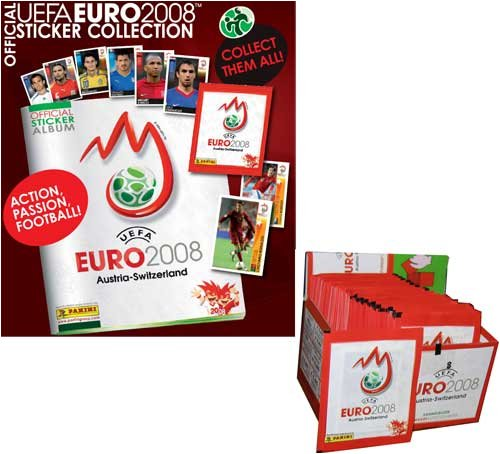 Euro 2008 Shirts (2008 UEFA EURO Cup Soccer Stickers Box - 100 packs /5 stickers)