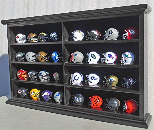 Miniature Football Display - Pocket Size Mini Football Helmet Display Case Cabinet Holders Rack w/UV Protection (Black Finish)