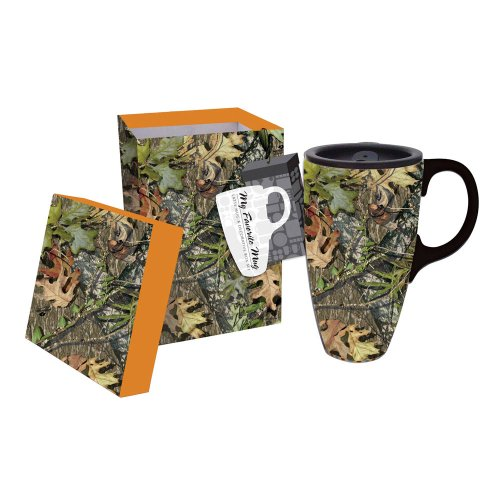 Cypress Home Mossy Oak Camo Ceramic Coffee Travel Mug with Gift - Coffee Ceramic Mug Gift