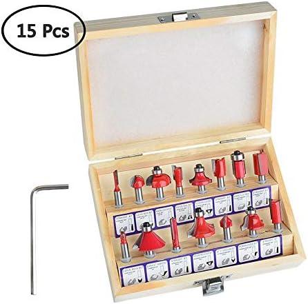 """15 stücke Fräser Set, Gaocunh 1/4""""Schaft Hartmetall Fräser Tools Kit mit Holzkiste (Enthält Traight, Cove und Fase Bit)"""