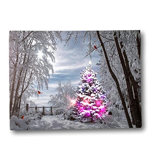 BANBERRY DESIGNS Christmas Trees and Cardinals LED Canvas Print - Snowy Day in The ()