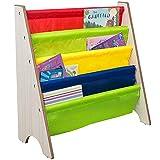 TOP-MAX Childrens Bookcase Kids Sling Bookshelf Wood Book Display Storage Rack Shelves Soft Nylon Fabric Nursery Furniture for Baby Bedroom