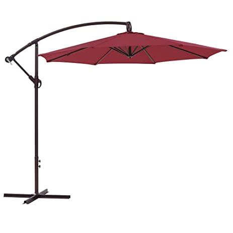 Ulax Furniture 10 Ft Offset Cantilever Hanging Patio Umbrella, Tilt And  Crank Outdoor, PA