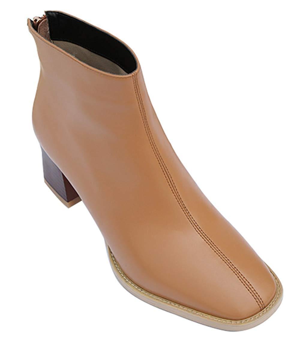 Fuxitoggo Damen Leder Fashion High Heel Stiefeletten Dick Mit Martin Stiefel (Farbe   Gelb2, Größe   37EU)