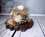 Medium Rustic Wedding Bouquet Caramel Burlap Lace Pearl Pins
