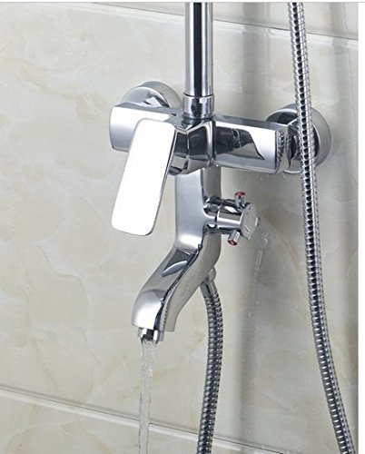GOWE Bathroom Basin Sink 8 inch Shower Head Two Way Shower Mixer Diverter With & Hand Held Shower Brass Chrome 2