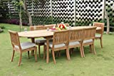 New 9 Pc Luxurious Grade-A Teak Wood Outdoor Dining Set – 117″ Double Extensions Oval Dining Table and 8 Arbor Stacking Armless Chairs #WHDSAB26 Review