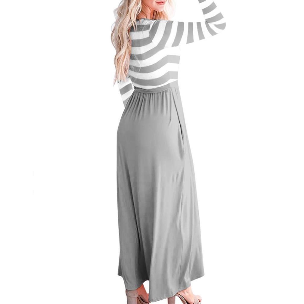 Rambling Popular Womens Casual Bohemian Striped Long Sleeve Maxi Long Dress with Belts