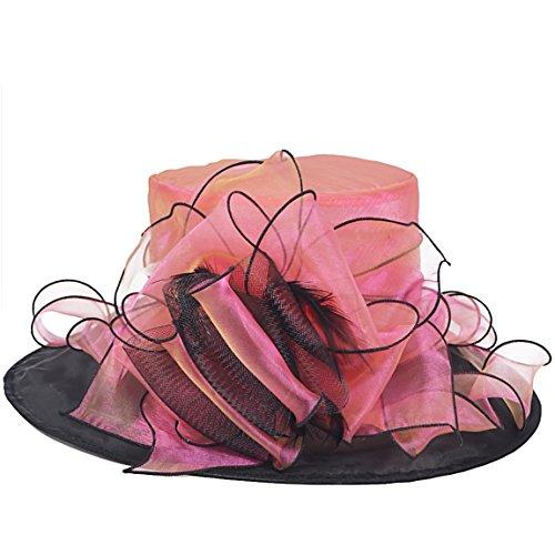 FORBUSITE Women Two-Tone Kentucky Derby Church Dress Organza Hat S603