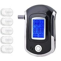 iweed Alcoholímetro Digital Profesional Portátil de Alcohol con Pantalla LCD Semi-Conductor de Sensor 5 Boquillas